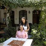The proprietor and her daughter in the garden