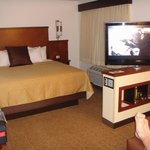 the flat-screen (swivels toward sofa or bed)