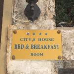 Plaque marking door to B&B