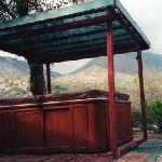 jacuzzi with mountain view, located in the backyard of the property