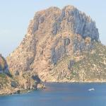 On the road to Cala D'Hort. See the huge yacht dwarfed by the mountain.