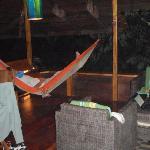 relaxing in the livingroom hammock