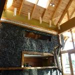 lobby, wood and lava construction