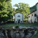 fountain, chapel, part of the main building of the villa