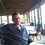 Hubby at Harvest Grill (in the sun room)