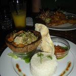 Thai chicken curry & coconut chicken in back