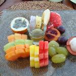 Fruit platter at breakfast