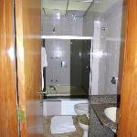 small bathroom with hole in bathtub