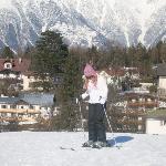 Skiing on the beginner slope