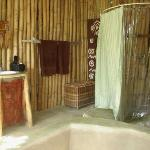 The bathroom didn't feel private.  There were large gaps in the bamboo.  The first morning in th