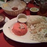 fish tacos...authentic Mexican rice and sauce for tacos along with re-fried beans