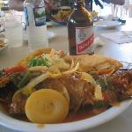 Brown Stew fish, festival and Red Stripe