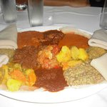 Typical Dish with Injera on the Sides
