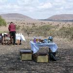 Breakfast on the plain - they surprised us with this