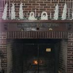 fireplace near picture windows