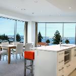 Apartment interior showing views