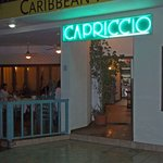 Entrance to Capriccio in the evening.