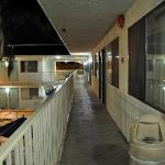 Outdoor corridors, I took this at 5am after the party next door was over.