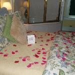 Our beautiful bed when we arrived