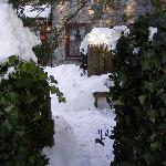 side snowly entrance to Inn