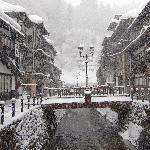 雪の銀山温泉です。