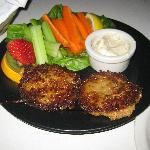 Renaissance Crab Cakes  Two large cakes of seasoned crab and lobster  grilled crispy in olive oi