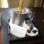 The complimentary champagne and strawberries