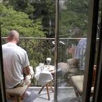 Me enjoying my morning coffee on the balcony!