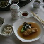 Braised codfish with black fungus (Mu-Err) and lily bulbs in fermented rice wine sauce