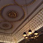The gold leaf dining room ceiling.