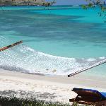 hammocks in front of each beach villa