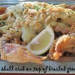 Stuffed grouper topped with soft-shell crab & bearnaise sauce at Capt. Dave's, Destin FL