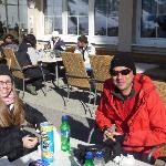 Enjoying an apres ski drink on hotel terrace