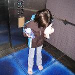 pressure sensitive tiles in elevator, much to the amusement of children as well as adults