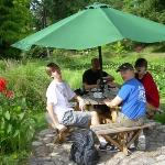 Erik, Mats, Niklas and Martin enjoying a coffee and/or ice cream in the park of Lund, Sweden
