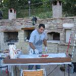 Vorbereitungen zum Pizzaabend mit Alberto