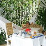Terrasse du bungalow/petit dej
