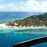 Helicopter shot of Castaway Island