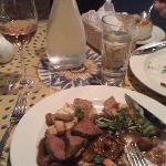 my delicious plate of venison prepared beautifully, a fine inexpensive French house rosé along w