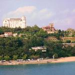 View of the hotel from the ferry