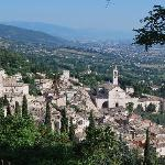 View of Assisi from public parking lot above the Basilica