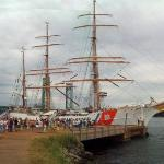 A composite photo of the barque USCG Eagle. This ship was originally launched in Germany in 1936