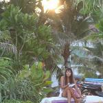 Thai girl at Patong Beach - Sunrise