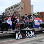 """Band playing """"Crazy Train"""" in downtown Fargo for all of the runners."""