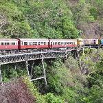 The train turning on a bridge