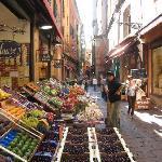 Street market outside hotel