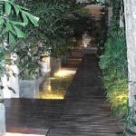 View of wooden walkway in courtyard