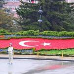 Turkish flag - made using flowers..