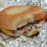 Steamed bagel sandwich goodness