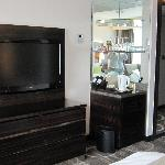 LCD TV and mini bar